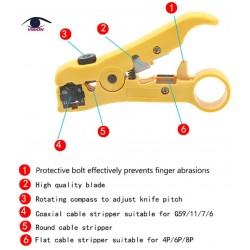 Corta y Pela la cubierta exterior del cable UTP y STP y el cable telefónico redondo CAT5 - el coaxial RG59 / 6/11/7 - el telefónico plano - T5005 - Vision (Cod:9054)