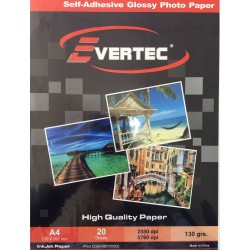 Papel fotografico autoadhesivo Glossy 130gr A4 por 20 hojas Evertec (Cod:5679)