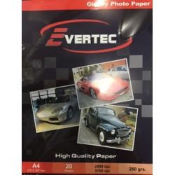 Papel fotografico Glossy 260gr A4 por 20 hojas Evertec (Cod:6219)
