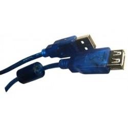 Cable alargue USB macho  hembra - mallado azul trasnparente - 1.5 mts - Con filtro - LCS-15Y (Cod:6305)
