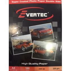 Papel fotografico Matte Doble faz 220gr A4 por 100 hojas Evertec (Cod:6972)