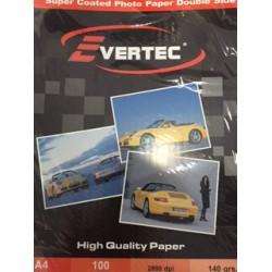 Papel fotografico Matte Doble faz 140gr A4 por 100 hojas Evertec (Cod:6973)