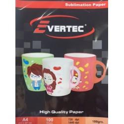 Papel fotografico Sublimacion 100g A4 por 100 hojas Evertec (Cod:6976)