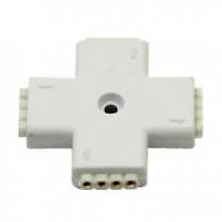 Conector en Cruz 4 Cables Tiras Led RGB (Cod:7033)