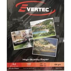 Papel fotografico Matte 108gr A4 por 100 hojas Evertec  (Cod:7437)