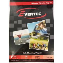 Papel fotografico Glossy 230gr A4 por 20 hojas Evertec (Cod:7646)