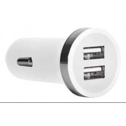 Cargador para auto de 12v a doble USB - 2.4A - Blanco (Cod:7800)