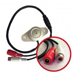 Micrófono para DVR con cable RCA y alimentación - Rango 100 Mts cuadrados - Voltaje: 9-12V DC - Blanco - ACA-15C (Cod:8085)