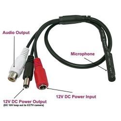 Micrófono preamplificado omnidireccional para DVR, Salida conector RCA y conector macho y hembra de energía - ACA-04 (Cod:8087)