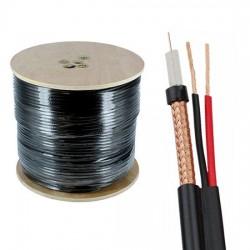 Cable coaxil RG59 + 2 cable de alimentación - CCTV - Densidad trenzada 95% (8X16X0.12CCA) para cámara de seguridad - Negro - Vision (Cod:8752)