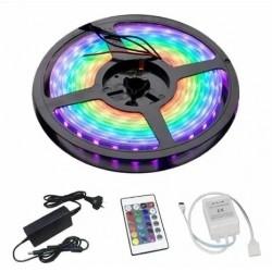 KIT RGB - Tira de led color RGB 5050 (exterior) 5 mts + Fuente 12v 6A + Controladora Led con control - LED-Y5050RD (Cod:8944)