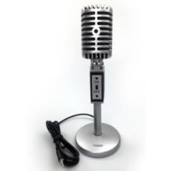Micrófono Multimedia Vintage - pie incorporado y cabezal ajustable - MIC-2030 - Noga (Cod:9131)