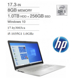 Notebook HP 17-by3003ca - i5-1035G1 1.0GHz - 8GB RAM - Disco (1TB HDD + 256gb ssd) - 17.3 HD+ Brightview - DVDRW - Bluetooth - HD WebCamera - Gris - Windows 10 H (Cod:9148)